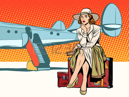 53757683-tourist-girl-sitting-on-a-suitcase-travelling-by-plane-pop-art-retro-style-journey-and-adventure-hea