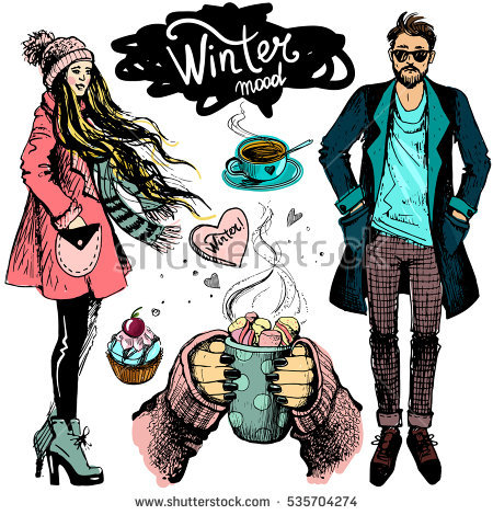 stock-vector-vector-set-with-woman-and-men-and-objects-with-winter-mood-winter-fashion-sketch-illustration-in-535704274